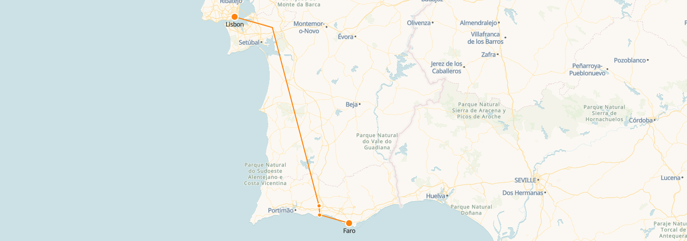 Lisbon to Faro Train Map
